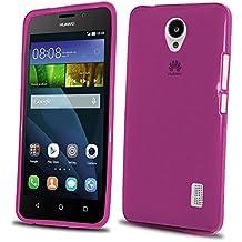 Donkeyphone 599371031 - funda carcasa de silicona rosa para huawei y635 gel tpu lisa transparente