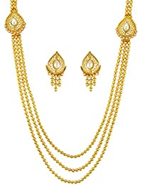 Adiva Bridal Dulhan White Metal Alloy Jewellery Set With Necklace And Earring For Ladies