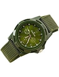 Reloje Hombres,Xinan Deporte Trenzado Lona Cinturón Analógico Reloj de Pulsera (Verde)