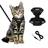 BINGPET Katzengeschirr und -Leine Set Schwarzes, fluchtsicheres Katzengeschirr, verstellbare, weiche, reflektierende Kaetzchenweste, No-Pull-Design Fuer das Gehen und...