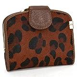 Amody Damen brieftasche Echtes Leder Schaltfläche portemonnaie Bifold geldbörse Leichter Kaffee-Leoparden-Print Portemonnaies