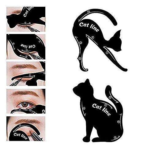 LUFA 2pcs Cat Eyeliner Stencil Matériau en PVC Applicateurs d'ombre à paupières Modèle Plaque Professionnel Multifonction Forme de chat noir Eye liner Eye Shadow Guide Template