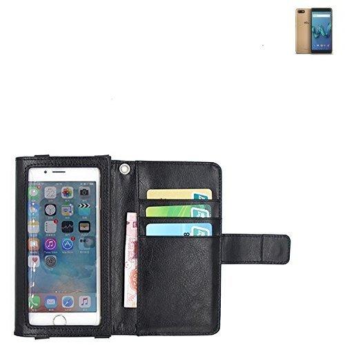 K-S-Trade Für Wiko Tommy 3 Schutz Hülle Case mit Displayschutz/Schutzfolie Flip Cover Wallet case Etui Hülle für Wiko Tommy 3 schwarz