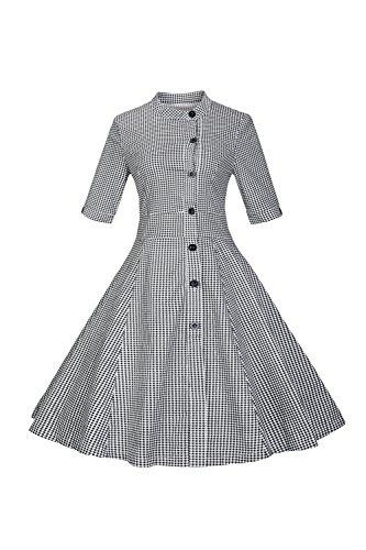 Media manga rayas Vintage de la mujer Swing vestido con botón Black M
