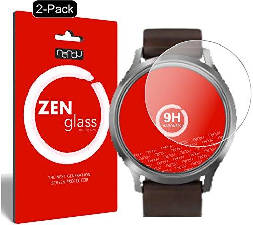 nandu I ZenGlass [2 Stück] Flexible Glas-Folie für Garmin vivomove HR Panzerfolie I Bildschirm-Schutzfolie 9H