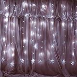 Weihnachten 100er LED Vorhang Lichterkette Innen/Außen, MaLivent 2x1,2M Lichtervorhang Fenster, Niederspannung 8 Fernbedienung Leuchtmodi, Weihnachtsdeko für Garten Zimmer Urlaub Weihnachten Hochzeit