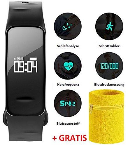 Atlanta Fitness Tracker mit Blutdruck Pulsmesser Herzfrequenz Blutsauerstoff GPS Schrittzähler + Schweißband 9700 SB