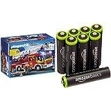 Playmobil Bomberos - Camión y escalera con luces y sonido, playset (5362) y 8 pilas recargables AAA de AmazonBasics