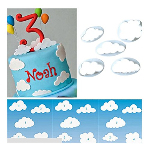 HBlife 3 stück Keks Ausstechformen Cloud Wolken Ausstecher DIY Kuchen Ausstechformen Deko Utensilien Modellierwerkzeug Fondant Kuche Tortendekoration für Backen