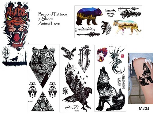 5fogli animale tattoos falso tatuaggi animal love set 1wolf barbuto aquila alberi tattoo