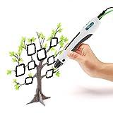 Amzdeal 3D Stift 3D weiß intelligenter Druckstift zum Zeichnen und Graffiti, kompatibel mit PLA- Filamenten, USB Kable, 3M Filamente