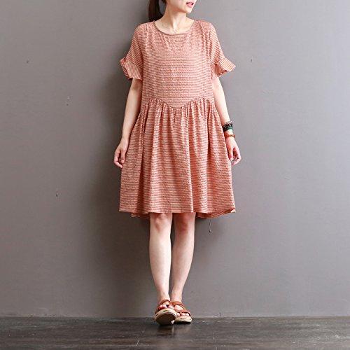 ein langärmliges, kurzärmeliges kleid mit ausgestelltem ärmel 1 orange