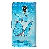 sinogoods Für Alcatel Pixi 4 5.0 5010D Hülle, Premium PU Leder Schutztasche Klappetui Brieftasche Handyhülle, Standfunktion Flip Wallet Case Cover - Drei Schmetterlinge