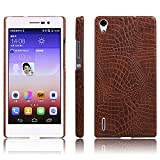 Huawei Ascend P7 Hülle, Premium Crocodile Pattern PU Leder Tasche Case Back Cover für Huawei Ascend P7 Smartphone (Crocodile Leder Cover Braun)