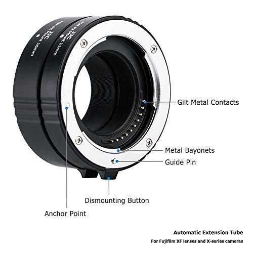 JJC 11mm/16mm Sets Metal Tubo de Extensión TTL Enfoque Automático AF para Lentes Fujifilm XF y Cámaras de la Serie X