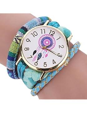 Vovotrade❀❀Die elegante stilvolle und schicke Knit Armbanduhr Damen Dekorativ_Himmelblau