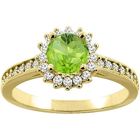 14ct oro lazulí Natural de flores de Halo anillo de compromiso de diamantes redondo de 6 mm, Tamaños J -