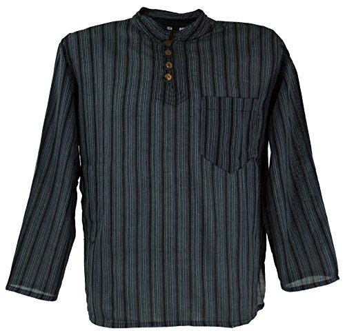 Guru-Shop Nepal Fischerhemd Gestreiftes Goa Hippie Hemd, Herren, Baumwolle, Männerhemden Alternative Bekleidung Schwarz