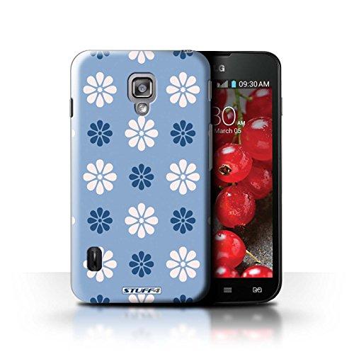 Kobalt® Imprimé Etui / Coque pour LG Optimus L7 II Dual / Rose conception / Série Motif avec pétales Bleue