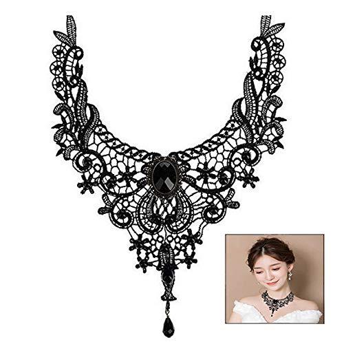 iwobi Gothic Schmuck Damen Kette Acryl Spitze Kragen Vintage Halskette (Vintage Hals Juwel)