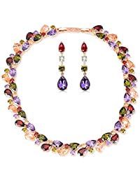 Impression Multicolor Austrian Crystal Combo Jewellery Of Pendant Set With Earrings For Girls And Women In Love