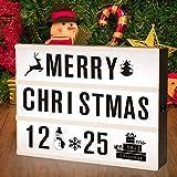 SUNNEST Caja de Luz A4 con 96 Letras y Emojis 80 Tarjetas de Fiestas Cartel Luminoso LED, Ideal para Decoración y Regalo para Niñas, Niños en Cumpleaños, Navidad