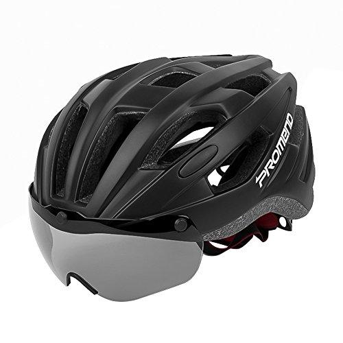 Romsion Unisex Fashion Reithelm mit magnetischer, Fester Brille für Straßenfahrräder L Schwarz