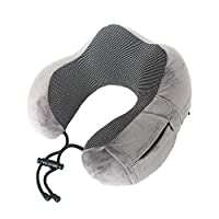 y2y3zfal Memory Cotton U-Shaped Pillow with Zipper U-Shaped Pillow Aircraft Travel Neck Pillow Travel Pillow Three-Piece