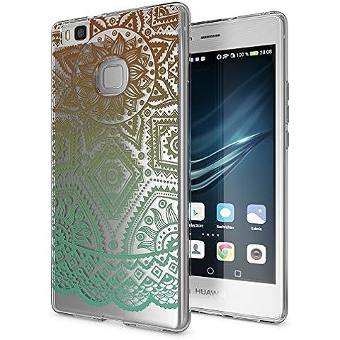 delightable24 Cover Case in Silicone TPU per Smartphone HUAWEI P9 LITE - Mandala Turchese Verde