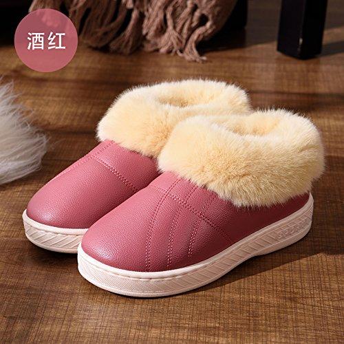 DogHaccd pantofole,Inverno pelle pu alta per aiutare uomini e donne rimanere impermeabile home paio di pantofole di cotone confezione con spesse, antiscivolo indoor scarpe di cotone Vino rosso4