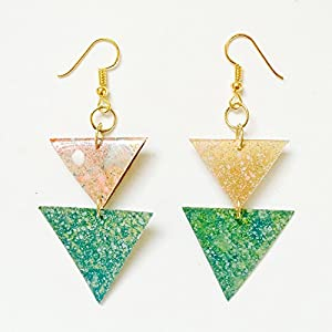 Doppelte Dreieck Ohrringe - Dreiecke geometrische Ohrringe für Frau - Bunte Ohrringe - Böhmische Ohrringe - Zigeuner Fest Ohrringe