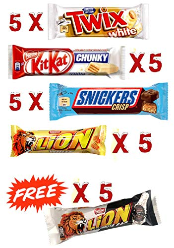 20 Mixed White Chocolate Bars Packed - 5 X (KITKAT, SNICKERS, TWIX, LION)