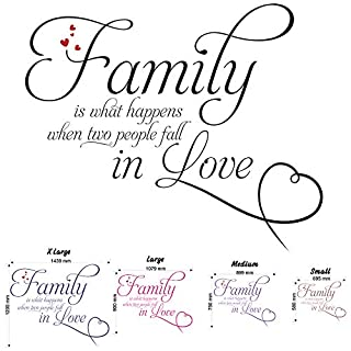 Family Is What Happens 2 - Wall Decal Quote Sticker lounge living room kitchen dining bedroom (Medium)
