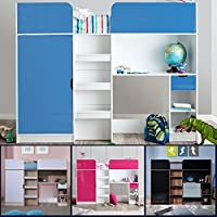 Happy Beds Paddington High Sleeper Bunk Storage Bed Wardrobe Desk 3' Single 90 x 190 cm
