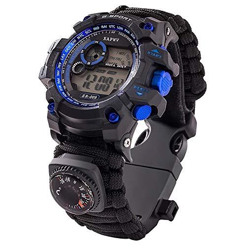 GOFEI 7 in 1 Überleben Armbanduhr Unisex Outdoor Multifunktionale Notfall Military Sportuhren für Wandern/Abenteuer