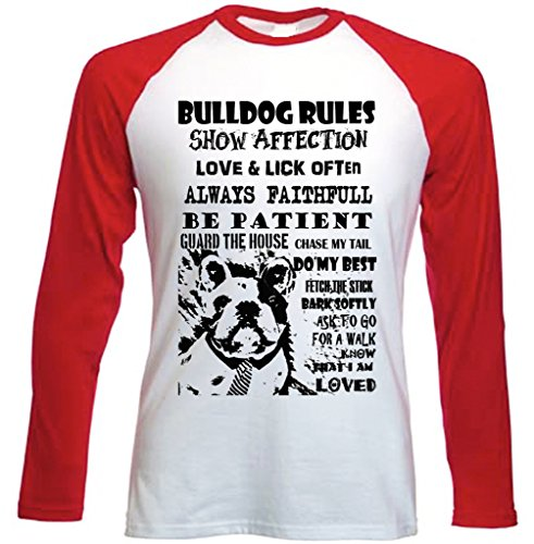 Teesquare1st Men's FRENCH BULLDOG DOG RULES PB 27 Red Long Sleeved T-Shirt Size Small