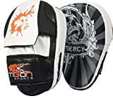 Curved Focus Pads Mitts Hook and Jab Punch Bag Kick Boxing Muay Thai Arm MMA UFC (Black)