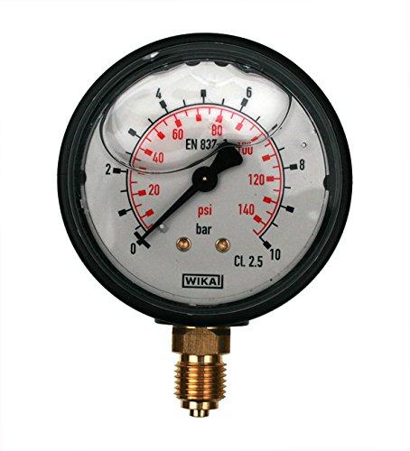 - Manometer Flüssigkeit (WIKA Manometer 0–10bar mit Flüssigkeit gefüllte 1/10,2cm unten Anschluss)