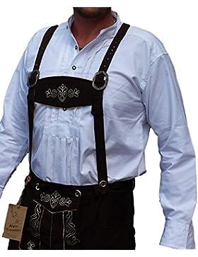 Trachtenhemd Weiß Hemd für Lederhose mit Stehkragen 100% Baumwolle