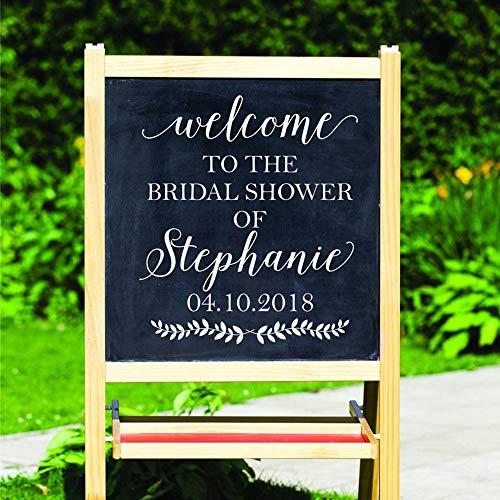 Bridal Shower Dekorationen Aufkleber Benutzerdefinierten Namen Datum Vinyl Aufkleber Willkommensschild Kunst Aufkleber Tapete NO Board enthalten 42x48cm