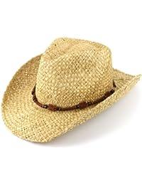 Sombrero de vaquero de paja natural con banda de madera