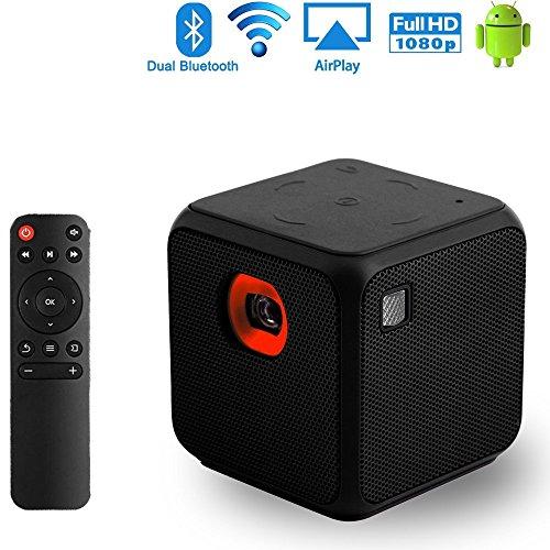 Sysmarts Proyector de Video móvil Pico Tamaño de Bolsillo portátil Mini para iPhone y Android, soporta 1080p Full HD, Bluetooth