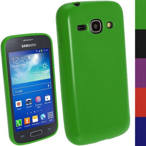 igadgitz Grün Glänzend Dauerhafte TPU Gel Schutzhülle Etui Case Tasche Hülle für Samsung Galaxy Ace 3 S7270 S7272 S7275 Android Smartphone + Displayschutzfolie