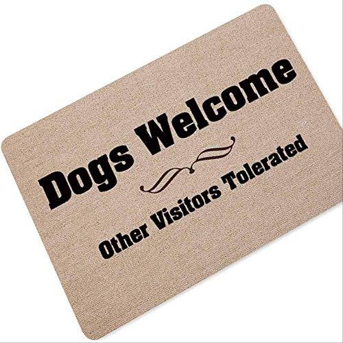 yingtengklk Willkommen Fußmatte Eingang Fußmatte Wort gedruckt Anti-Rutsch-Bodenmatte Teppiche lustige benutzerdefinierte Haustür Matte Teppich 60x90cm Hund