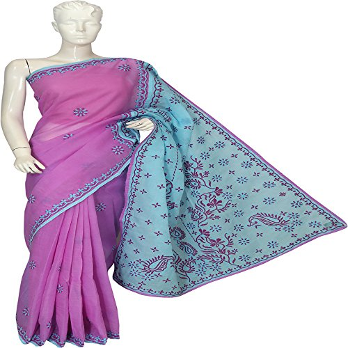 Lucknow Chikankari Hand Embroidery Casual Ethnic Cotton Saree by ADA A43443