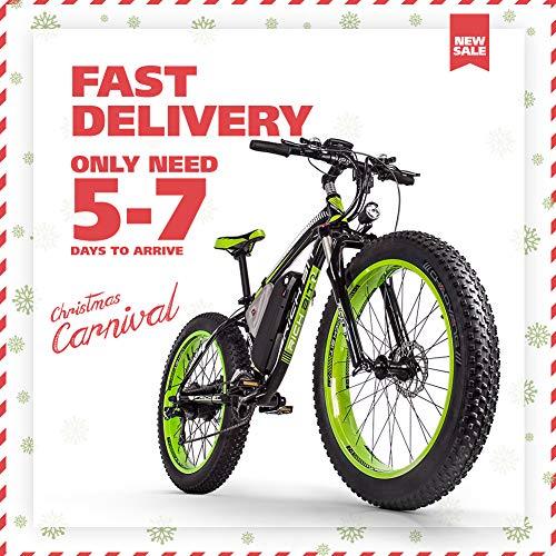 RICH BIT 1000W / 48V / 17AH Bicicletta elettrica MTB 26 \'\' * 4 \'\' Fat Tire 7 Livelli di Pedale Assist Display LCD Tachimetro 45-65KM Batteria agli ioni di Litio