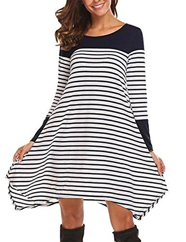 T-Shirt-Kleid, Slivexy Damen Gestreiftes Kleid Jerseykleid Streifenkleid Knielang Navy M
