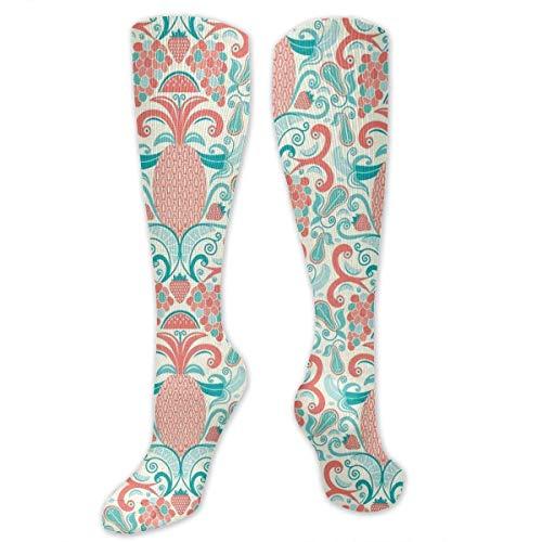 Gped Kniestrümpfe,Socken Fruit Damask Pineapple Coral Compression Socks,Knee High Socks,Funny Socks for Women Men - Best Medical,Sports,Running, Nurses,Maternity,Pregnancy,Travel & Flight Socks