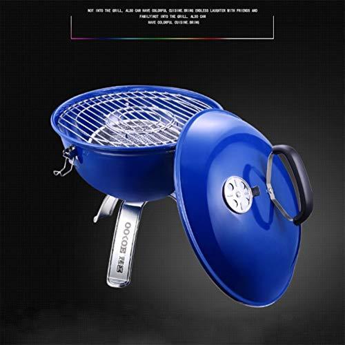 Hervidor portátil para barbacoa, pintura en aerosol de alta temperatura, para asar brochetas, verduras, barbacoa, etc. Picnic Camping Garden Party (3-7 personas), azul