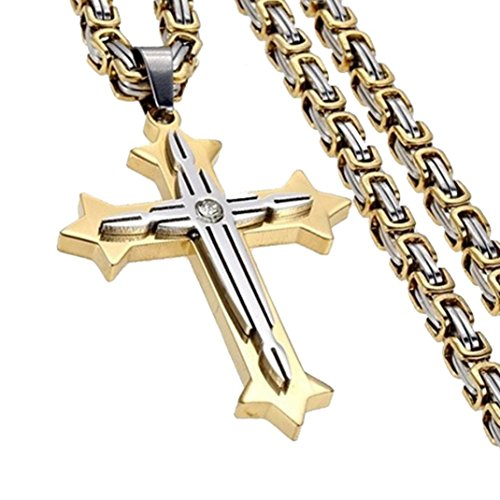 Best Birthday Gift for Boyfriend/Husband,DIKEWANG Personality Mens Byzantine Stainless Steel Crucifix Cross Pendant Necklace Chain Gifts
